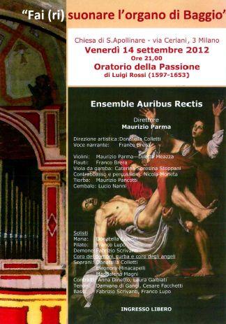 Concerto 14 settembre 2012 - Fai (ri)suonare l'organo di Baggio